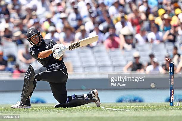 Ross Taylor of New Zealand is bowled by Travis Head of Australia during the first One Day International game between New Zealand and Australia at...