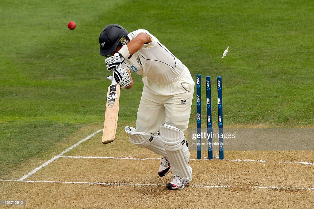 Ross Taylor of New Zealand is bowled for a golden duck by Stuart Broad of England during day two of the second Test match between New Zealand and England at Basin Reserve on March 15, 2013 in Wellington, New Zealand.