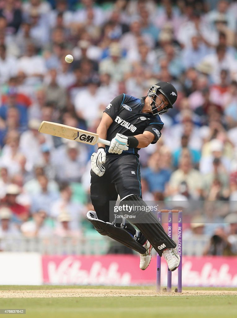 <a gi-track='captionPersonalityLinkClicked' href=/galleries/search?phrase=Ross+Taylor&family=editorial&specificpeople=845922 ng-click='$event.stopPropagation()'>Ross Taylor</a> of New Zealand is hit by a bouncer during the 2nd Royal London ODI between England and New Zealand at The Kia Oval on June 12, 2015 in London, England.