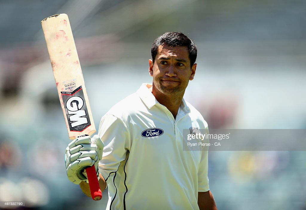 <a gi-track='captionPersonalityLinkClicked' href=/galleries/search?phrase=Ross+Taylor&family=editorial&specificpeople=845922 ng-click='$event.stopPropagation()'>Ross Taylor</a> of New Zealand leaves the ground after being dismissed for 290 runs by Nathan Lyon of Australia during day four of the second Test match between Australia and New Zealand at WACA on November 16, 2015 in Perth, Australia.
