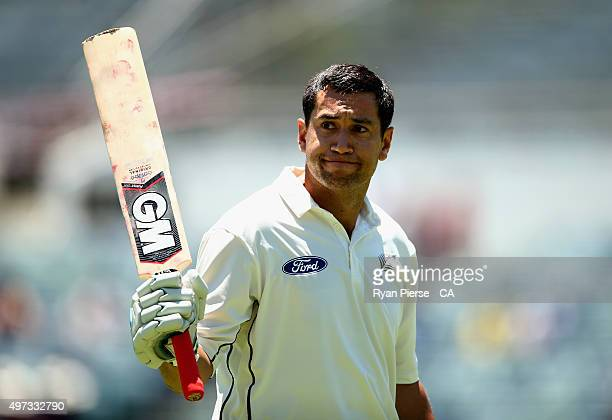 Ross Taylor of New Zealand leaves the ground after being dismissed for 290 runs by Nathan Lyon of Australia during day four of the second Test match...