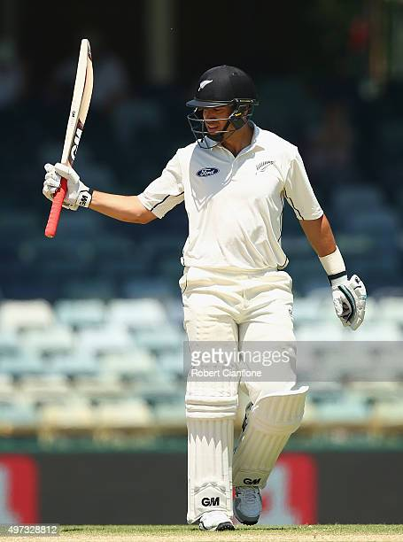 Ross Taylor of New Zealand raises his bat after reaching 250 runs during day four of the second Test match between Australia and New Zealand at the...