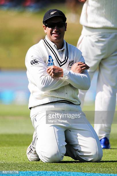 Ross Taylor of New Zealand reacts after a dropped catch during day one of the Second Test match between New Zealand and Bangladesh at Hagley Oval on...
