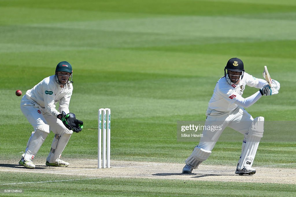 <a gi-track='captionPersonalityLinkClicked' href=/galleries/search?phrase=Ross+Taylor&family=editorial&specificpeople=845922 ng-click='$event.stopPropagation()'>Ross Taylor</a> of Sussex in action as wicketkeeper <a gi-track='captionPersonalityLinkClicked' href=/galleries/search?phrase=Niall+O%27Brien+-+Cricketer&family=editorial&specificpeople=7528561 ng-click='$event.stopPropagation()'>Niall O'Brien</a> of Leicestershire looks on during the fourth day of the Specsavers County Championship Division Two match between Sussex and Leicestershire on May 04, 2016 in Hove, England.