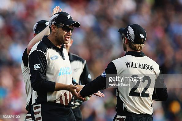 Ross Taylor of the Black Caps celebrates with Kane Williamson of the Black Caps after the wicket of Ahmed Shehzad of Pakistan during the...