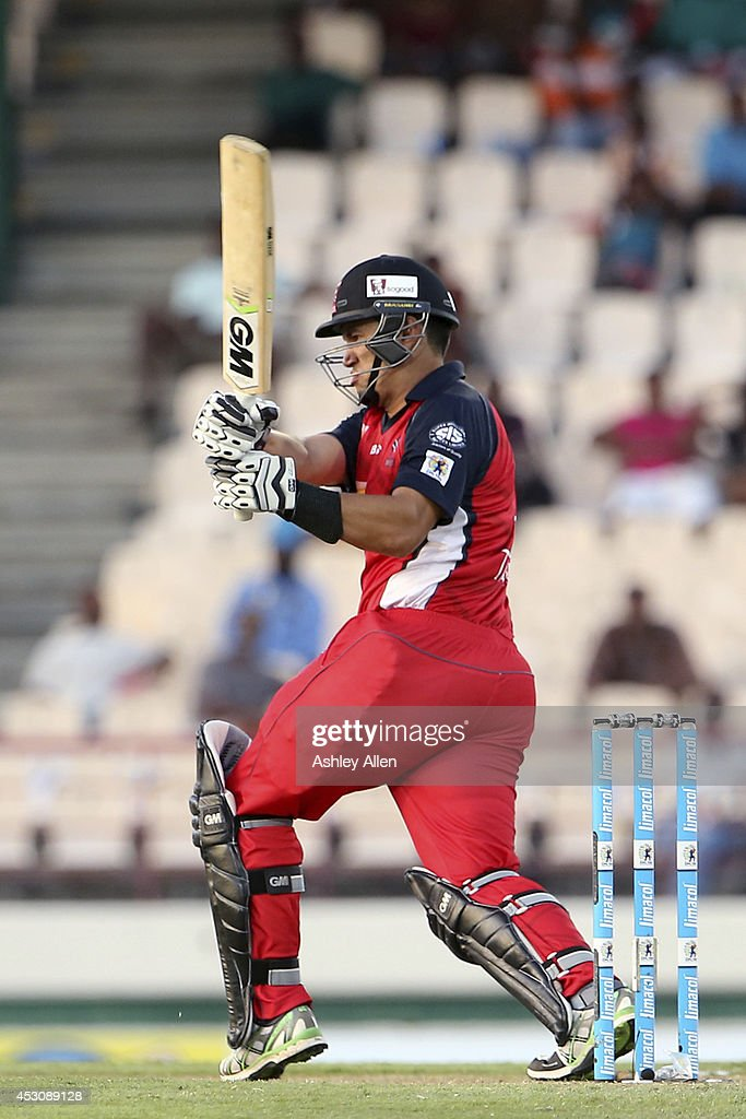 <a gi-track='captionPersonalityLinkClicked' href=/galleries/search?phrase=Ross+Taylor&family=editorial&specificpeople=845922 ng-click='$event.stopPropagation()'>Ross Taylor</a> of The Red Steel hits the ball on the leg-side during a match between St. Lucia Zouks and The Trinidad and Tobago Red Steel as part of week 4 of the Limacol Caribbean Premier League 2014 at Beausejour Stadium on August 02, 2014 in Castries, St. Lucia.