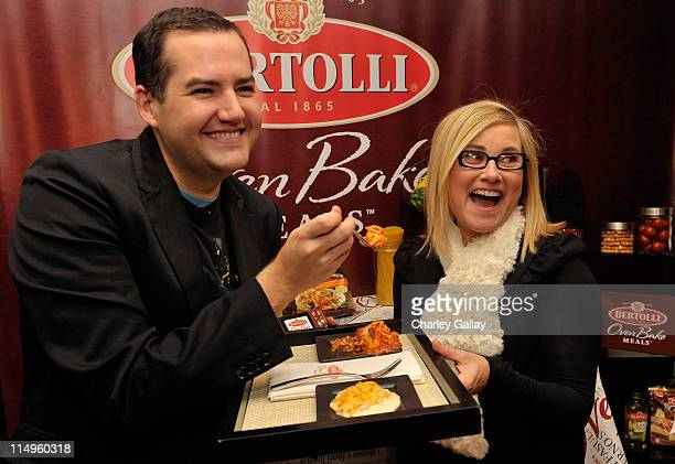 Ross 'The Intern' Mathews and actress Maureen McCormick attend the Bertolli Oven Bake Meals at the Access Hollywood 'Stuff You Must' Lounge produced...