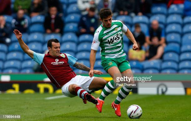 Ross Wallace of Burnley in action with Joe Edwards of Yeovil during the Sky Bet Championship match between Burnley and Yeovil Town at Turf Moor on...