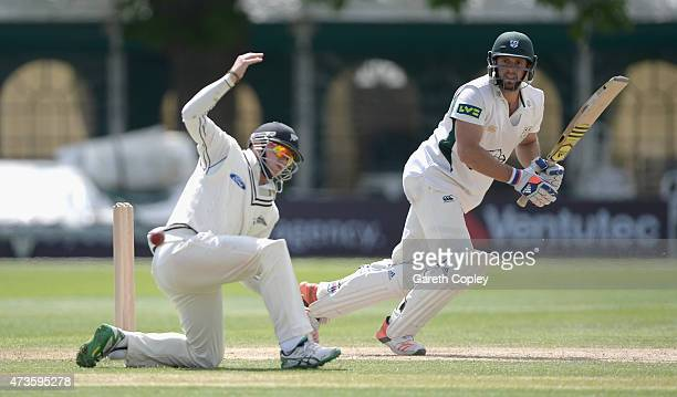 Ross Whiteley of Worcestershire bats during day three of the tour match between Worcestershire and New Zealand at New Road on May 16 2015 in...