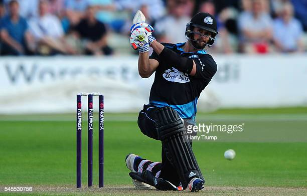 Ross Whiteley of Worcestershire bats during the Natwest T20 Blast match between Worcestershire and Lancashire at New Road on July 8 2016 in Worcester...