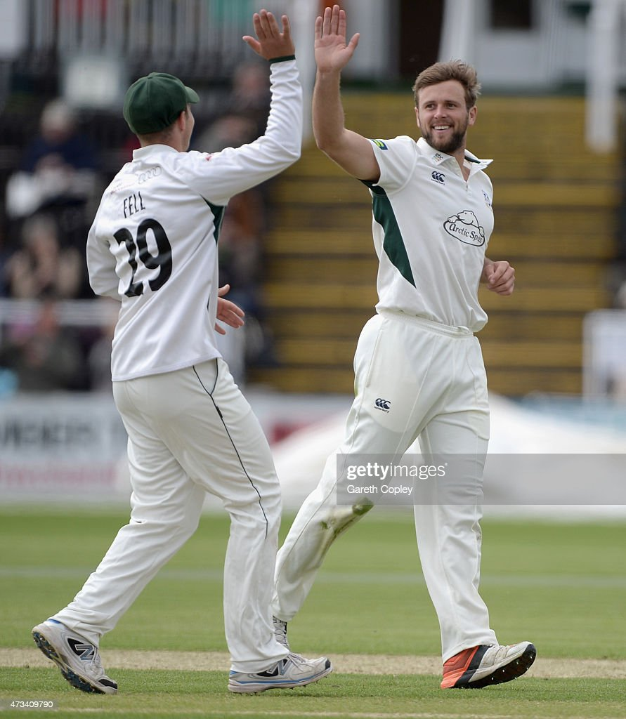 Ross Whiteley of Worcestershire celebrates with Tom Fell after dismissing Ross Taylor during the Tour Match between Worcestershire and New Zealand at...