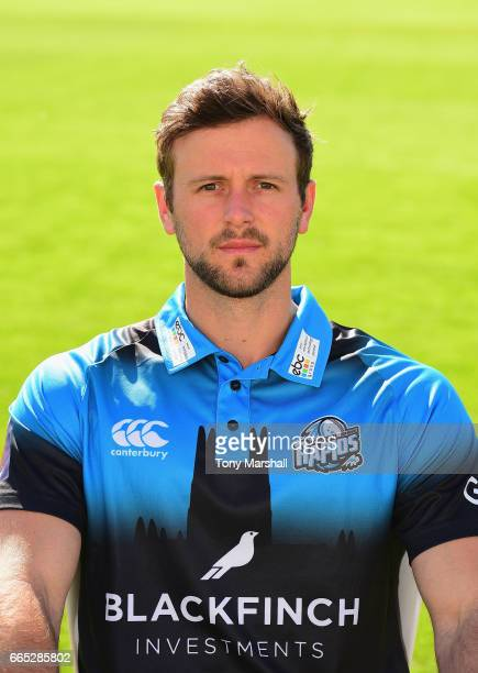 Ross Whiteley of Worcestershire County Cricket Club poses in the NatWest T20 Blast kit during the Worcestershire County Cricket photocall held at New...