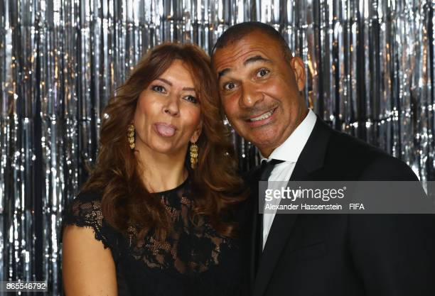 Rossana Lima and Patrick Kluivert is pictured inside the photo booth prior to The Best FIFA Football Awards at The London Palladium on October 23...