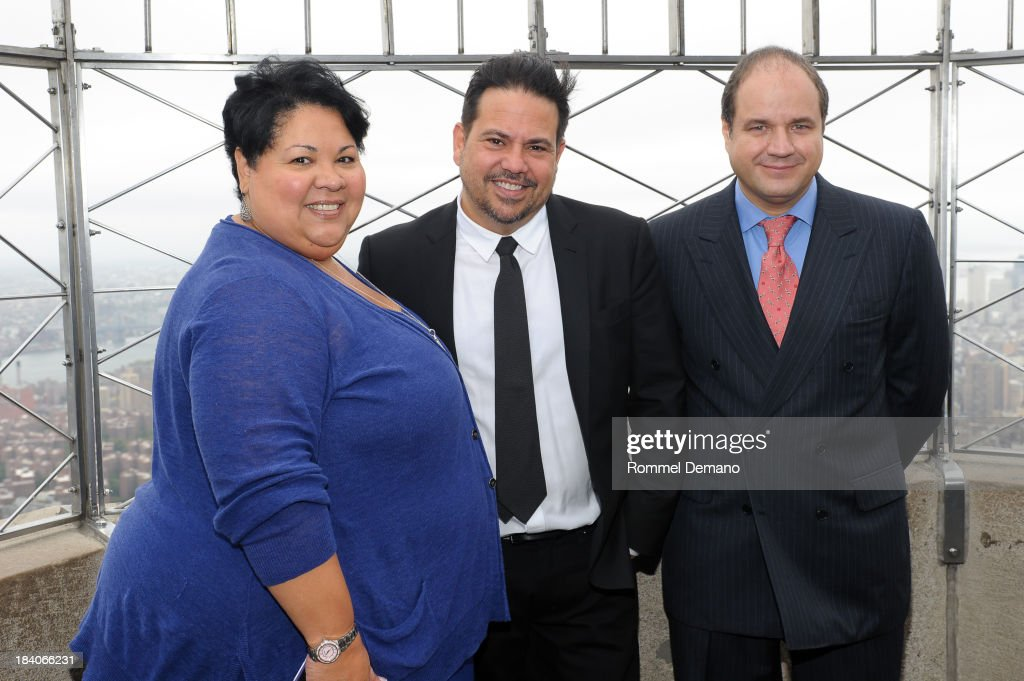 Rossana Rosado, Narciso Rodriguez and Hernando Ruiz-Jimenez visit the Empire State Building on October 11, 2013 in New York, United States.