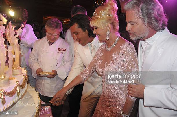 Rossano Rubicondi and Ivana Trump cut the cake during their wedding reception at the MaraLago Club on April 12 2008 in Palm Beach Florida Ivana...
