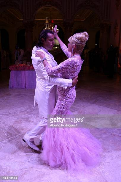 Rossano Rubicondi and Ivana Trump dance during their wedding reception at the MaraLago Club on April 12 2008 in Palm Beach Florida Ivana Trumps...