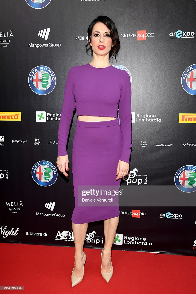 Rossella Brescia walks the red carpet of Bocelli and Zanetti Night on May 25, 2016 in Rho, Italy.