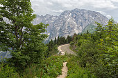 Rossfeld panorama road with hiking trail over the mountain ridge between Germany and Austria