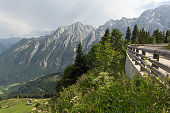 Rossfeld panorama road with car park over the mountain ridge between Germany and Austria
