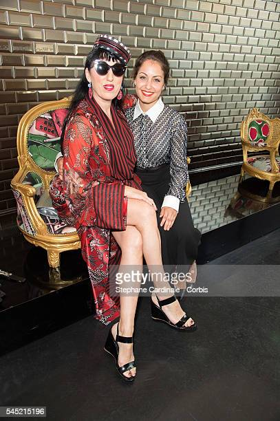 Rossy De Palma and Hiba Abouk attend the JeanPaul Gaultier Haute Couture Fall/Winter 20162017 show as part of Paris Fashion Week on July 6 2016 in...