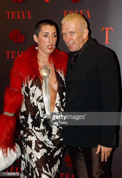 Rossy de Palma and Jean Paul Gaultier during 2004 TELVA Magazine Fashion Awards at Alcala Theatre in Madrid Spain