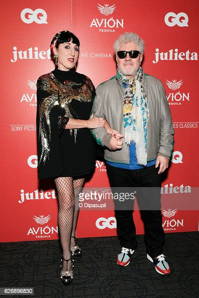 Rossy de Palma and writer/director Pedro Almodovar attend a screening of Sony Pictures Classics' 'Julieta' hosted by The Cinema Society with Avion...