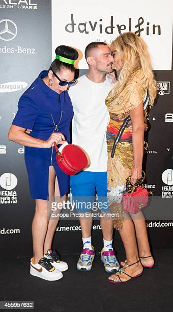 Rossy de Palma David Delfin and Bibiana Fernandez attend Mercedes Benz Fashion Week Madrid at Ifema on September 14 2014 in Madrid Spain