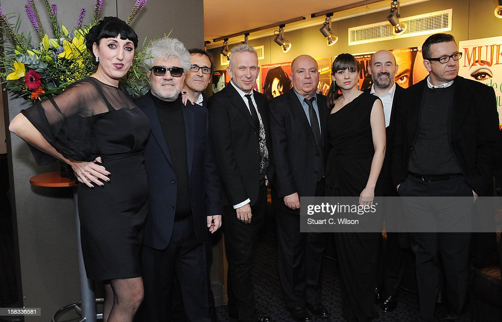 Rossy De Palma, Pedro Almodovar, Alberto Iglesias, Jean-Paul Gaultier, Agustin Almodovar, Leonor Watling, Javier Camara, Peter Morgan and Stephen Frears attends as The Academy of Motion Picture Arts and Sciences honours director Pedro Almodovar at Curzon Soho on December 13, 2012 in London, England.