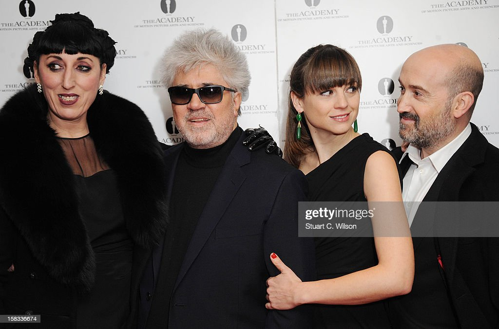 Rossy De Palma, Pedro Almodovar, Leonor Watling and Javier Camara attend as The Academy of Motion Picture Arts and Sciences honours director Pedro Almodovar at Curzon Soho on December 13, 2012 in London, England.