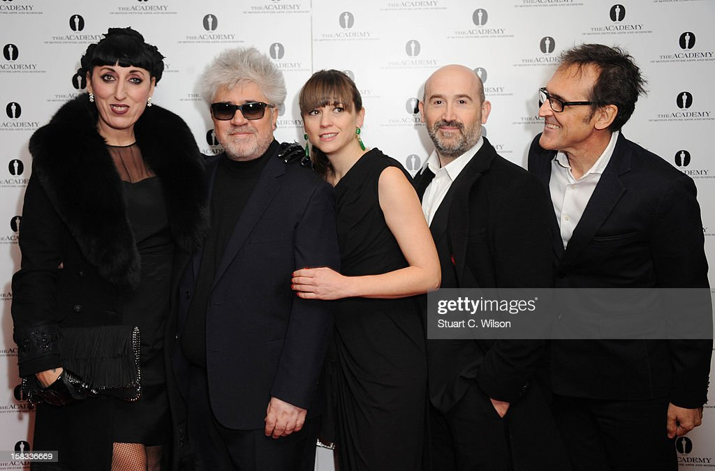 Rossy De Palma, Pedro Almodovar, Leonor Watling, Javier Camara and Alberto Iglesias attend as The Academy of Motion Picture Arts and Sciences honours director Pedro Almodovar at Curzon Soho on December 13, 2012 in London, England.