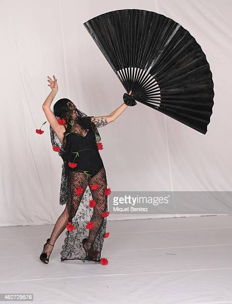 Rossy de Palma poses for Ruven Afanador during his photo shoot as part of the '080 Barcelona Fashion Week 2015 Fall/Winter' at the Museu Maritim of...