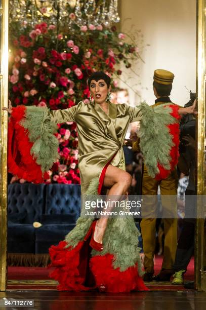Rossy de Palma walks the runway at the Palomo Spain show during the MercedesBenz Fashion Week Madrid Spring/Summer 2018 on September 14 2017 in...