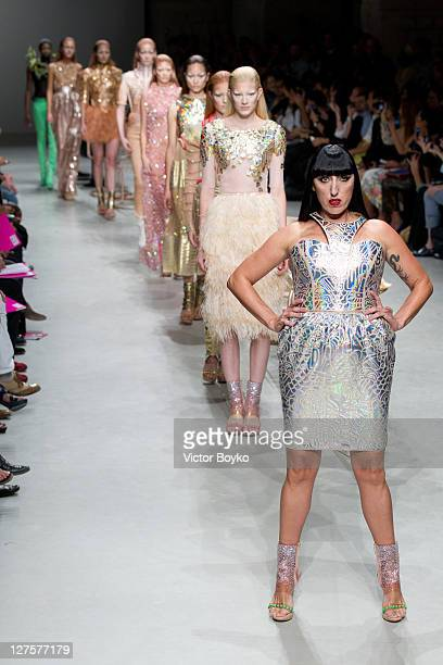 Rossy de Palma walks the runway during the Manish Arora Ready to Wear Spring / Summer 2012 show during Paris Fashion Week at Cite de l'Architecture...