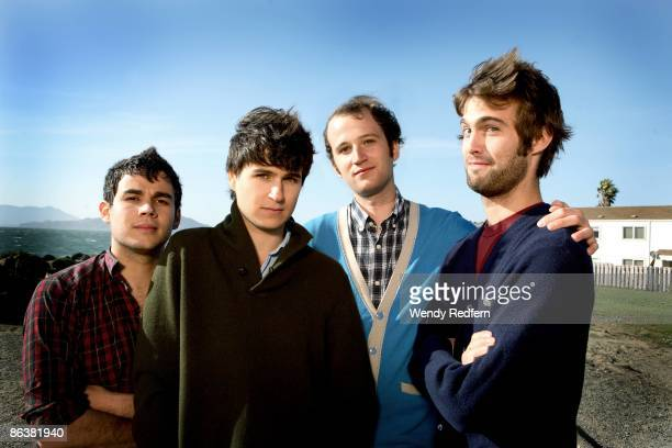 Rostam Batmanglljof Ezra Koenlg Chris Balo Chris Tomson of Vampire Weekend pose for a group shot in 2008 in San Francisco CA
