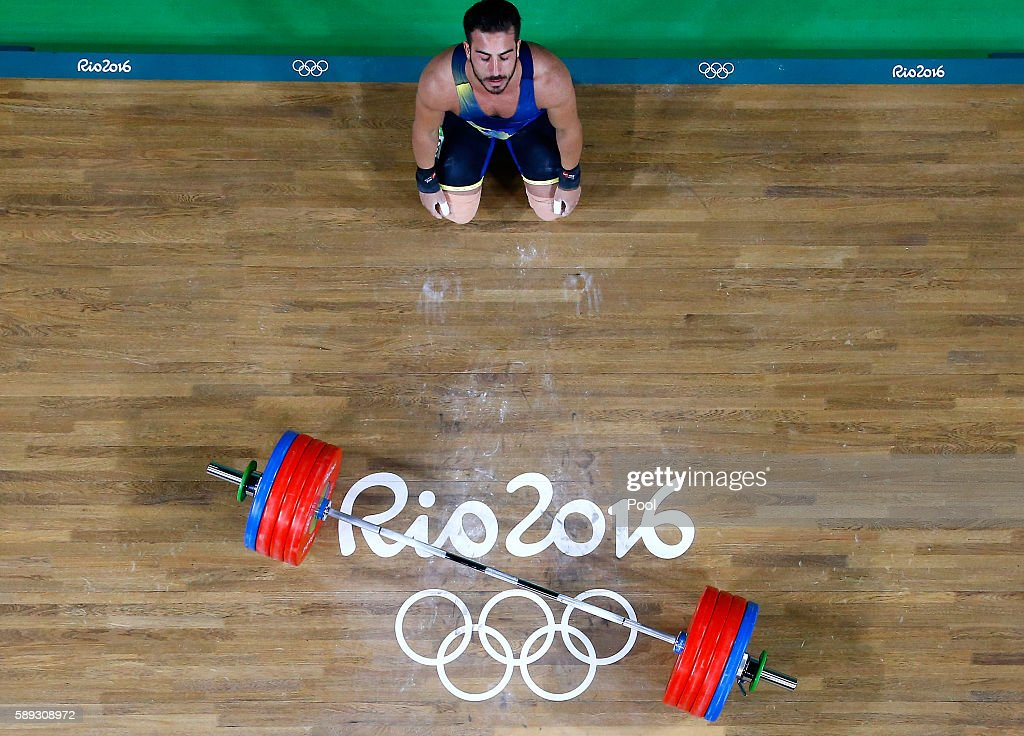 Rostami Kianoush of Iran sets a new world record during the Weightlifting Men's 85kg on Day 7 of the Rio 2016 Olympic Games at Riocentro Pavilion 2...