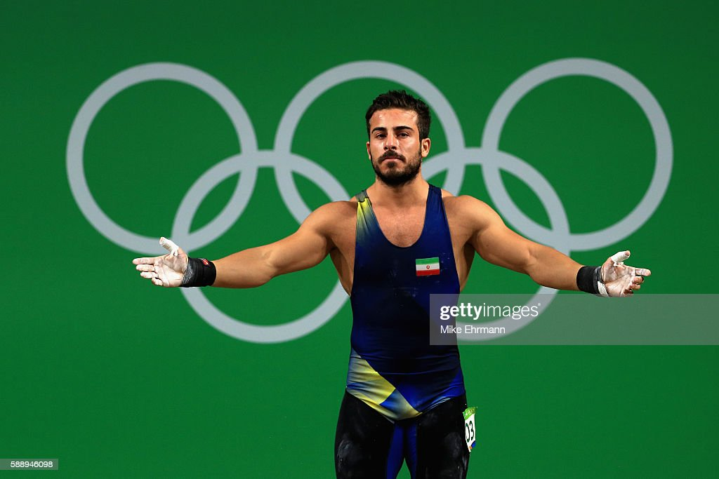 Rostami Kianoushof Iran during the Weightlifting Men's 85kg on Day 7 of the Rio 2016 Olympic Games at Riocentro Pavilion 2 on August 12 2016 in Rio...