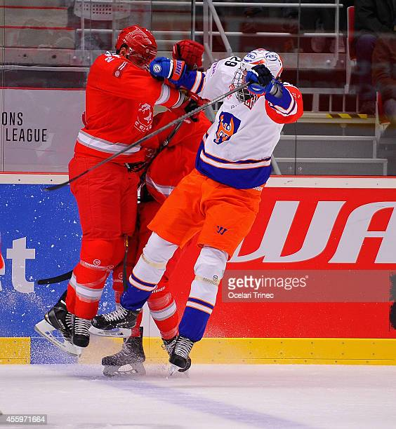 Rostislav Klesla of HC Ocelari Trinec and Patrik Laine of Tappara Tampere in action during the Champions Hockey League group stage game between HC...