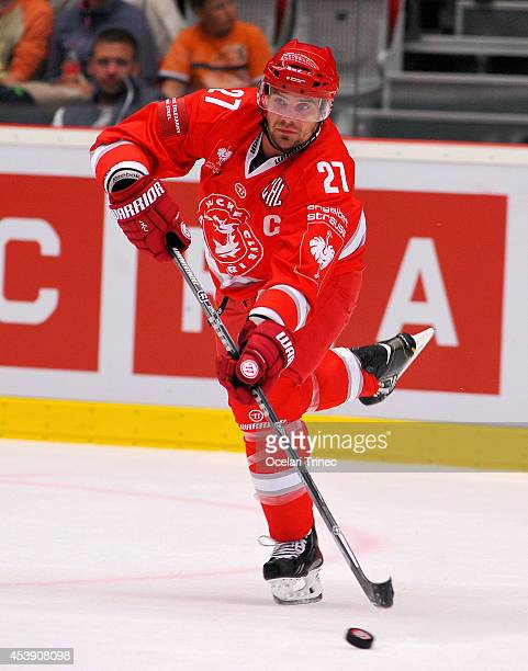 Rostislav Klesla of HC Ocelari Trinec in action during the Champions Hockey League group stage game between HC Ocelari Trinec and SC Bern on August...