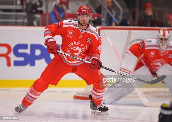 Rostislav Klesla of Ocelari Trinec during the Champions Hockey League round of thirtytwo game between Ocelari Trinec and HV 71 Jonkoping on September...
