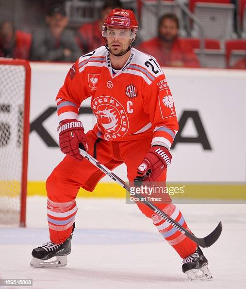 Rostislav Klesla of Ocelari Trinec in action during the Champions Hockey League round of thirtytwo game between Ocelari Trinec and HV71 Jonkoping on...