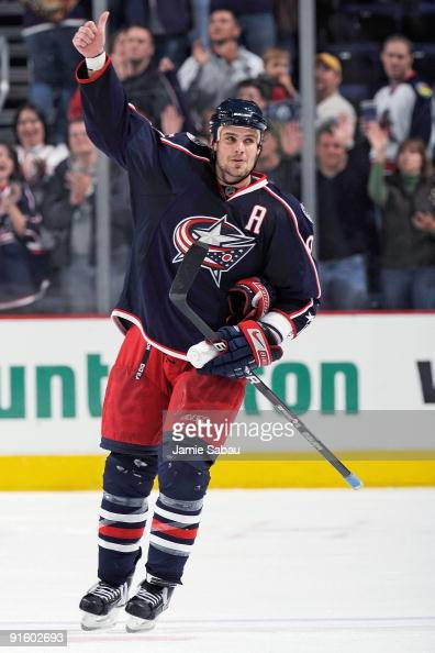 Rostislav Klesla of the Columbus Blue Jackets acknowledges the crowd after a game against the Minnesota Wild on October 3 2009 at Nationwide Arena in...