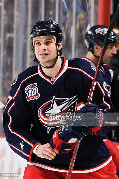 Rostislav Klesla of the Columbus Blue Jackets takes a breather against the Phoenix Coyotes on January 11 2011 at Nationwide Arena in Columbus Ohio...