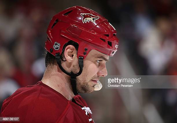 Rostislav Klesla of the Phoenix Coyotes during the NHL game against the Columbus Blue Jackets at Jobingcom Arena on January 2 2014 in Glendale...