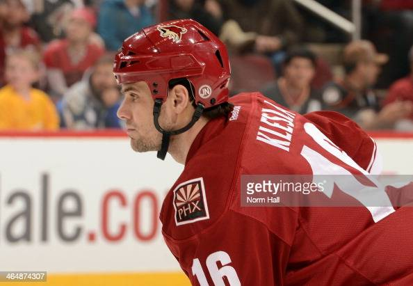 Rostislav Klesla of the Phoenix Coyotes gets ready during a faceoff against the Anaheim Ducks at Jobingcom Arena on January 11 2014 in Glendale...