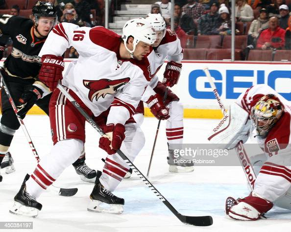 Rostislav Klesla of the Phoenix Coyotes handles the puck during the game against the Anaheim Ducks on November 6 2013 at Honda Center in Anaheim...