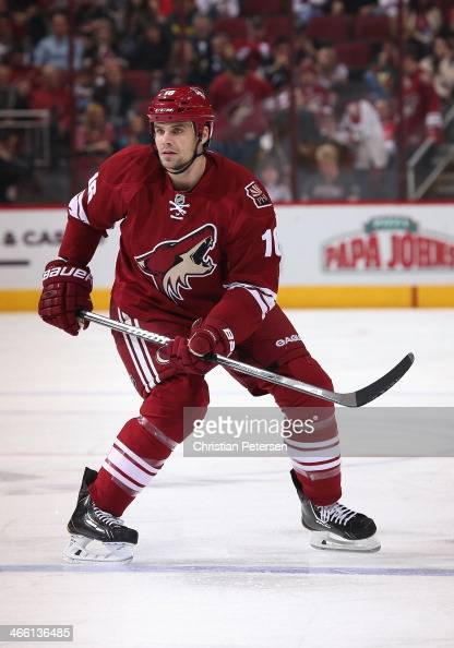 Rostislav Klesla of the Phoenix Coyotes in action during the NHL game against the Columbus Blue Jackets at Jobingcom Arena on January 2 2014 in...