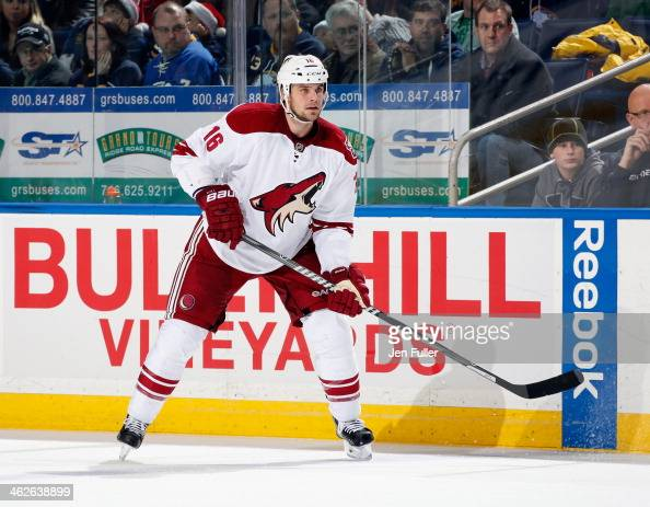 Rostislav Klesla of the Phoenix Coyotes skates against the Buffalo Sabres at First Niagara Center on December 23 2013 in Buffalo New York