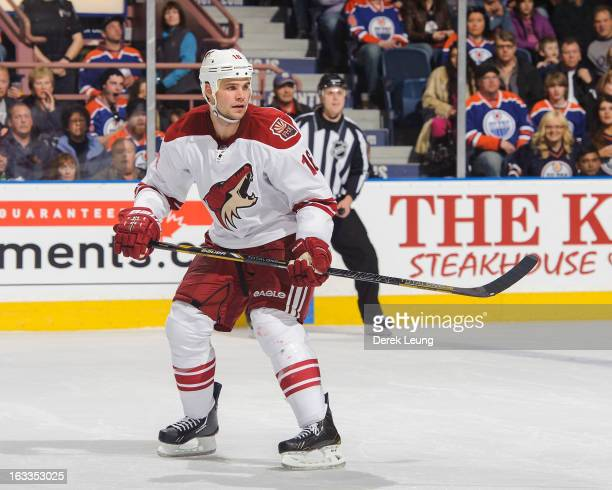 Rostislav Klesla of the Phoenix Coyotes skates against the Edmonton Oilers during an NHL game at Rexall Place on February 23 2013 in Edmonton Alberta...