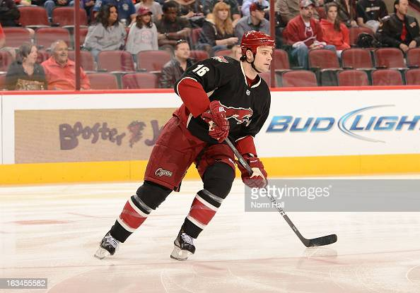 Rostislav Klesla of the Phoenix Coyotes skates up ice against the Anaheim Ducks at Jobingcom Arena on March 4 2013 in Glendale Arizona