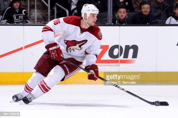 Rostislav Klesla of the Phoenix Coyotes skates with the puck against the Los Angeles Kings at Staples Center on March 18 2013 in Los Angeles...